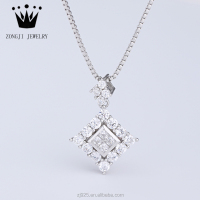 925 Sterling Silver Jewelry Small Rhombic Shape Pendant With Clear Zircon Stones In Bulk