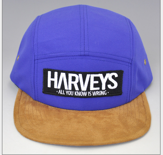 Fashion Flat suede Brim snapback cap Custom Purple 5 Panel leather strap Snapback Cap Hat 3d badge embroidery cap hat