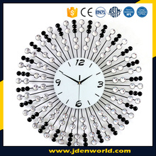 High quality big size sun shape 3D metal wall clock with diamonds