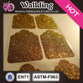 Good quality adhesive golden sticker glitter paper,promotional self adhesive sticker paper