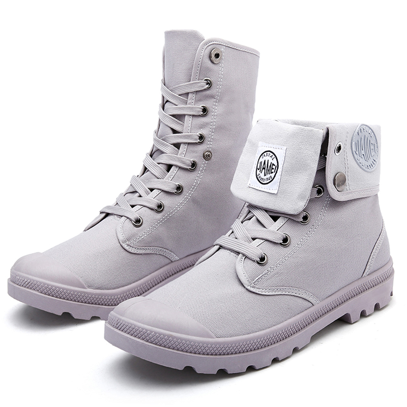 High Top Solid Color Lace Up Skidproof Durable Sole Fashion Shoes Men <strong>Boots</strong>