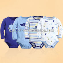 2014 Spring baby romper 100% cotton long bodysuit infant
