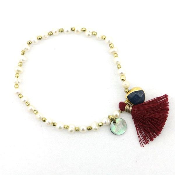 gold brush pearl bead crystal jewellery beads charm bracelet