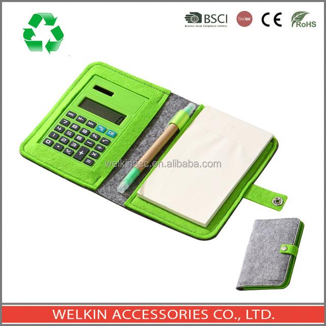 Felt notebook with calculator and ballpen
