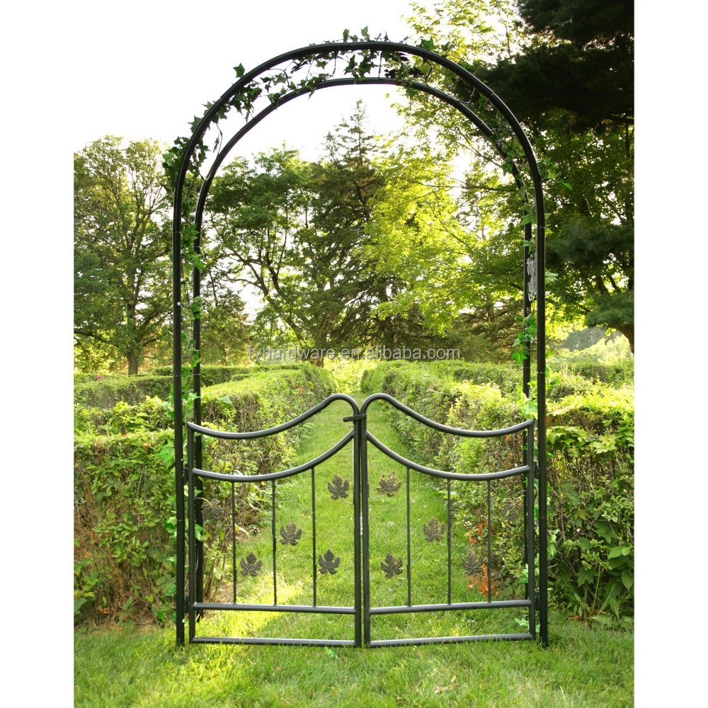 Metal Frame Material and decorative garden arch trellis with gate