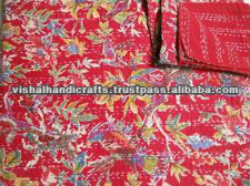beautiful bird paradise theme handmade kantha kantha quilt throw from india
