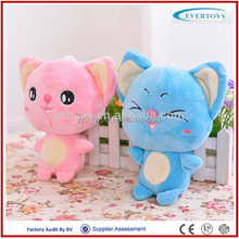 2016 hot big head hug blue cat plush toy