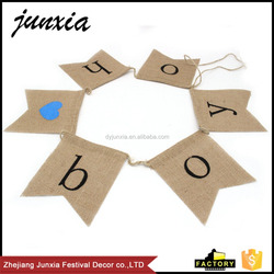Junxia Oh Boy Baby Shower Celebrating Burlap Banner Baby Boy Jute Bunting Flag Baby Shower Decor