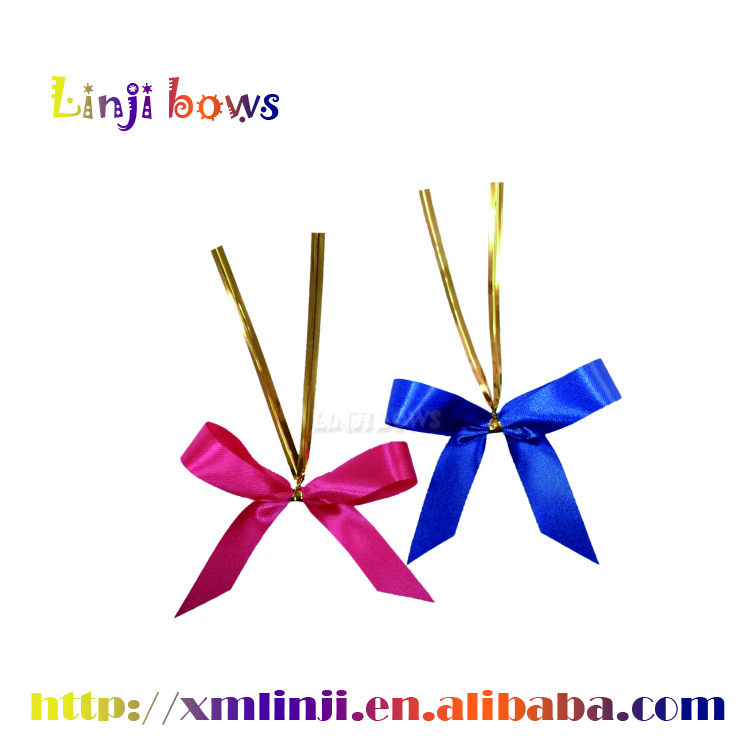 2016 Hot sale cutting edge satin ribbon ready-made bows with wire twist tie for gift package decoration