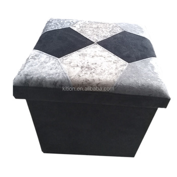 2017 Newest Pattern Crystal Velvet Storage Ottoman
