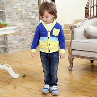 Hot Sale New Brand Children 2016 Korean Boys Clothing Sets Knitted Cotton For Boys Kids Set