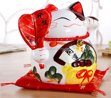 Hot Sale Personalized Handmade Color Glazed Decorative Lucky Cat Coin Bank for Wealth and Fortune