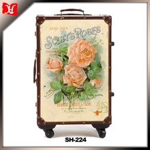 Custom vintage fashion printing designer trolley luggage travel bag