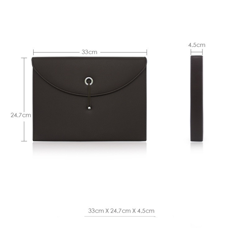 A4 Leather Document Organizer Expanding File Folder 13 Pockets