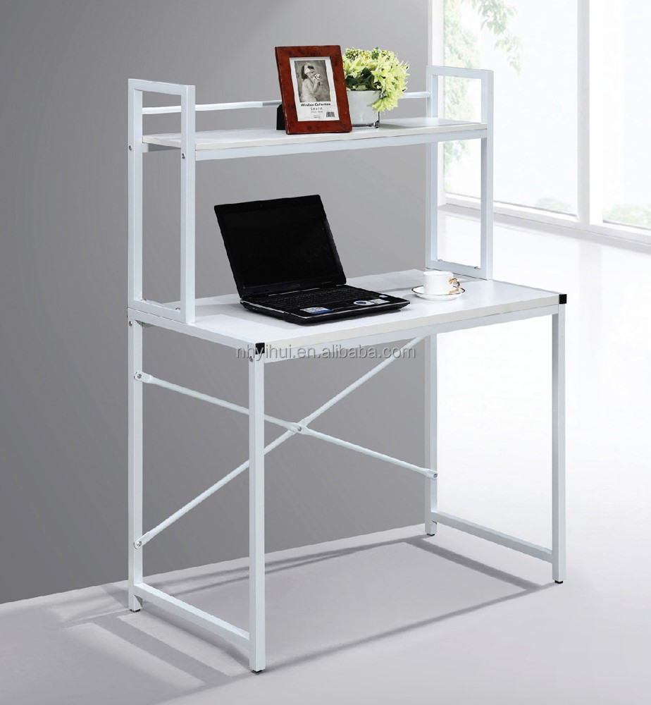 Simple computer table T19 with steel frame wooden top with bookshelf