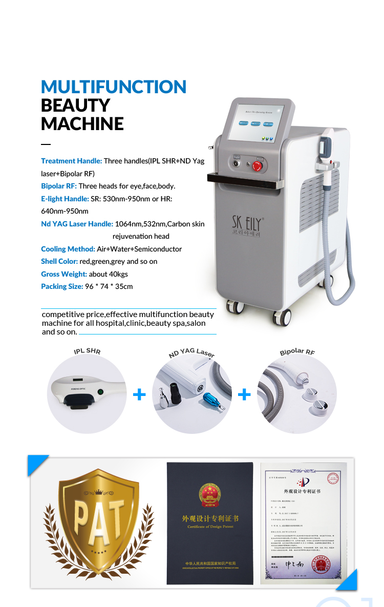 Elight Ipl Opt Shr rf and Nd Yag Laser System Hair Removal Beauty Machine