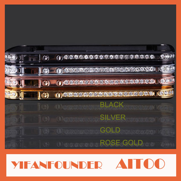 Metal Cellphone Case for iPhone 5 cover with diamond