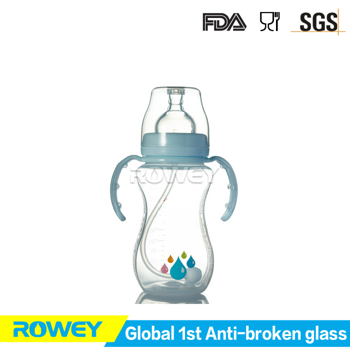 Environment friendly baby bottles with milk baby food, glass baby feeding bottle