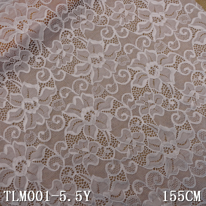 fancy designer white raschel elastic lace fabric