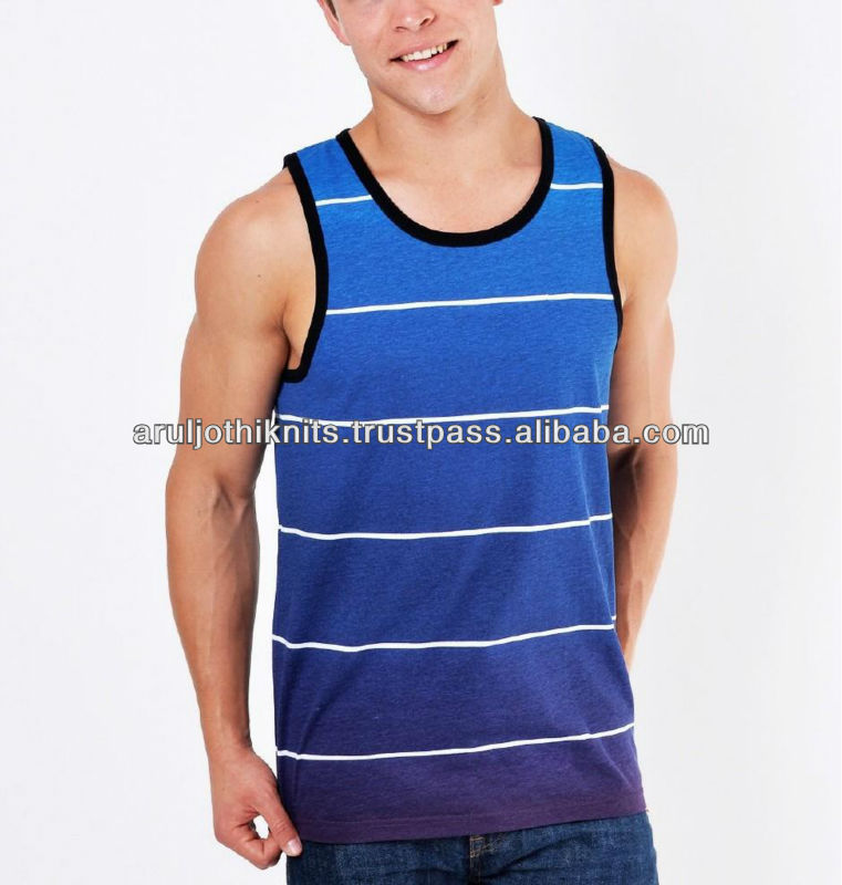 MEN'S STRIPED VEST WITH DIP DYE EFFECT
