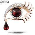 Fashion Gold Tone Eyes Shape Crystal Rhinestone Brooch For Women Dress