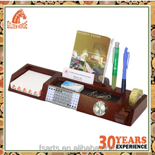 Multifuntional Wooden Desk Organizer with watch