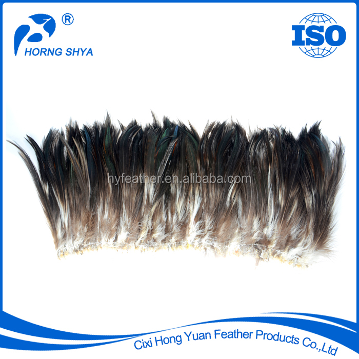Horng Shya #79 Bronze Strung Dyed Rooster Plumage Black 2.5-7 Inch Rooster Hackle Feather