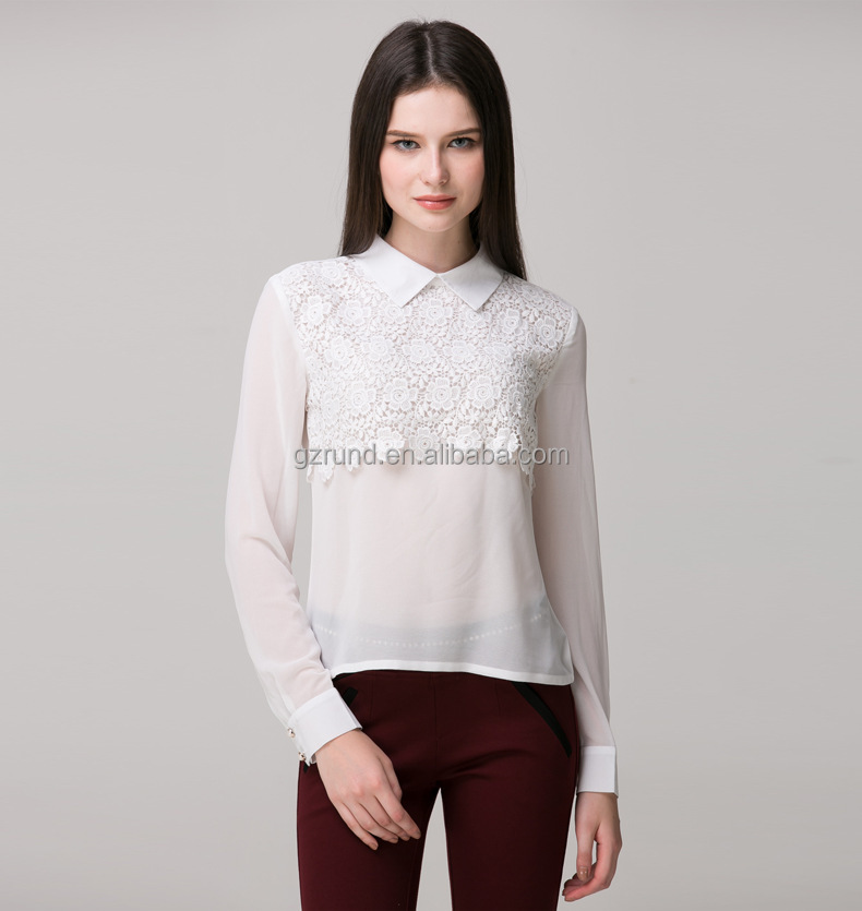 custom made fashion high quality new design women white chiffon girl blouse
