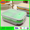 Microwave safe foldable silicone lunch boxes fresh food container in 3 compartments