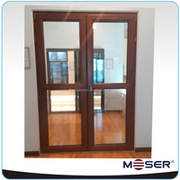 2014 new design wood/timber low sill double glazed hinged door