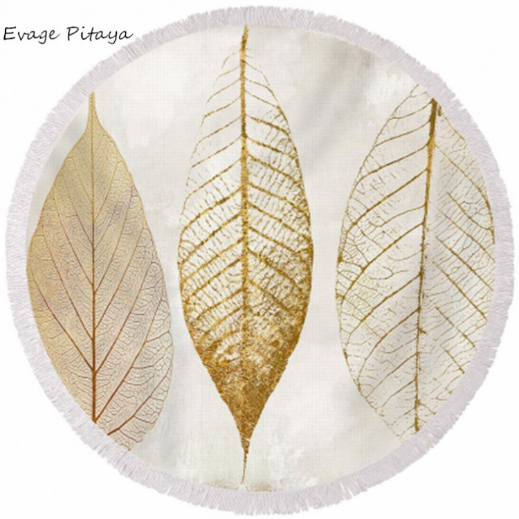 wholesale gold metalic printing leaf pattern microfiber with tassels holiday beach towels