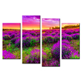 Lavender Fields Canvas Prints Flower Picture Canvas Printing Romantic Photos Canvas Painting for Living Room and Bedroom 4-Panel