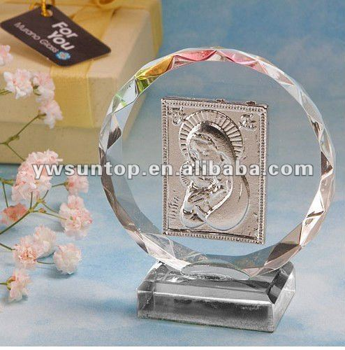 Madonna Round decoration Crystal Plaque for Baby shower