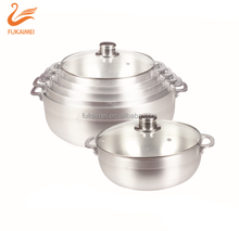 Satin finish cooking pot aluminum caldero with glass cover for Panama market