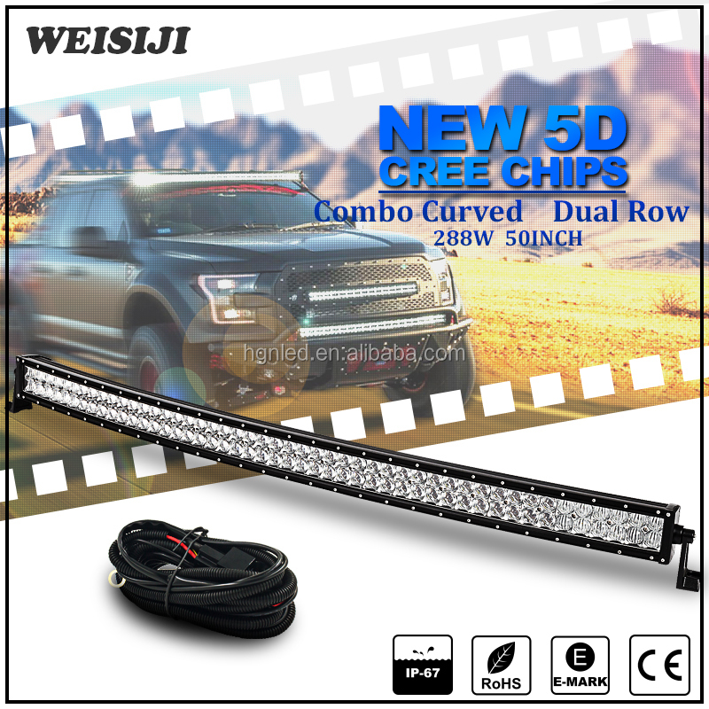 50 inch 288w offroad 4X4 led bar lights,curved 5D fish eye led light bar