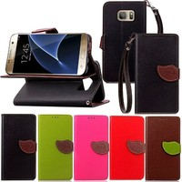 Leaf Belt Clip Wallet Leather Cover + TPU Case Inside for Samsung S7 with Hand Strap