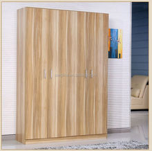 Oak Color Bedroom Wardrobe Designs with 4 Doors