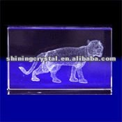 New arrival lifelike 3D laser Crystal Tiger animal figurine