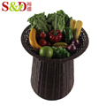 Eco-friendly rattan woven supermarket fruit vegetable stand design