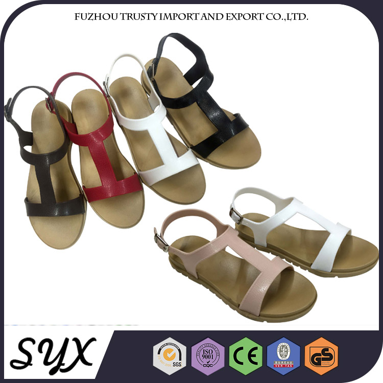 Beach Brown Pvc Sex 2017 Color Combination Lady Flat Casual Sandal