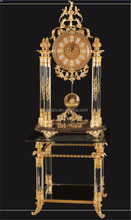 Royal Brass and Crystal Decorated Art Table Clock, Luxury Design 24K Gold Plated Table Clock with Stand