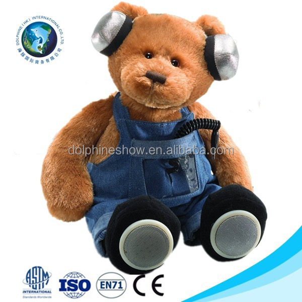 New product funny cute stuffed soft teddy bear plush toy bluetooth speaker