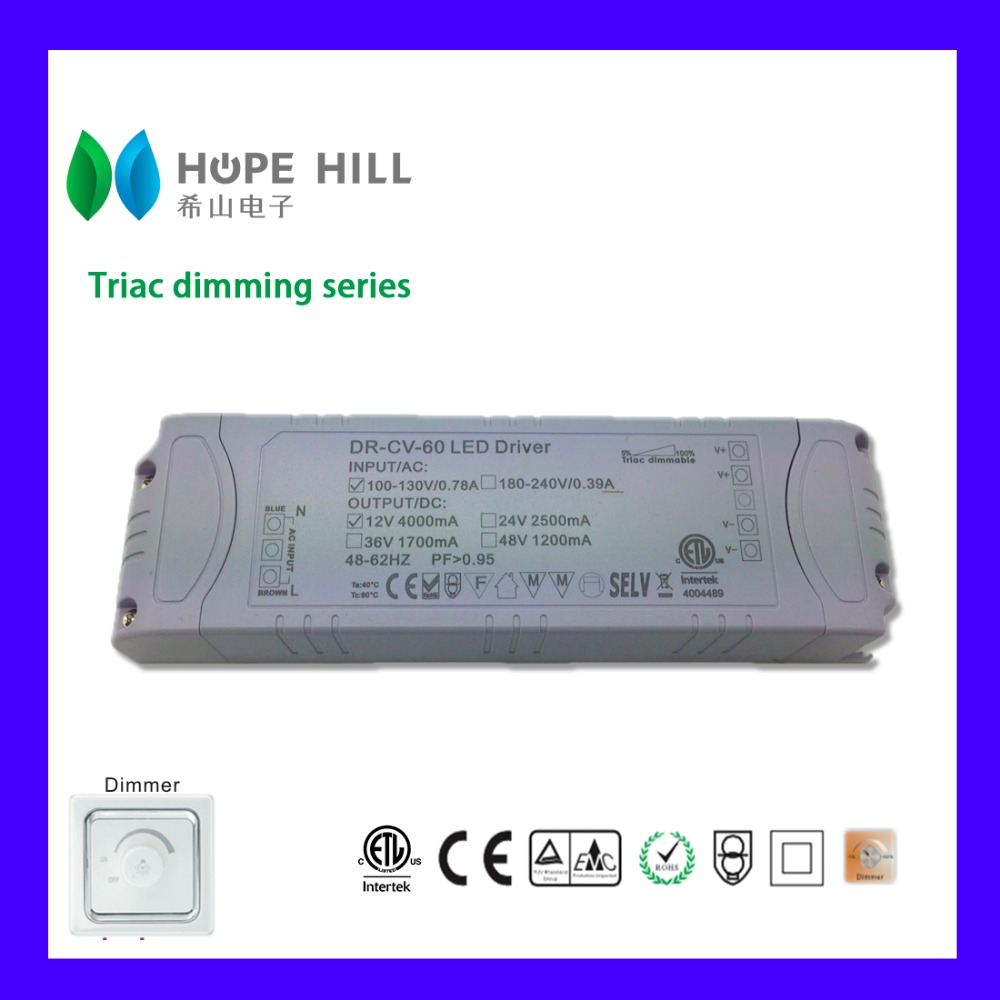 Constant Current 1200mA 60W Triac dimmable LED driver