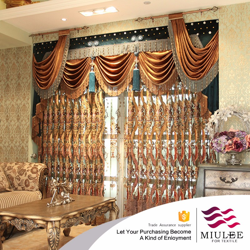 Luxury gold and jade fill the hall high-grade curtains with attached valance