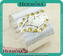 Three Stone Citrine Bangles Wholesale Carved Fish Jewelry Fashion Accessory