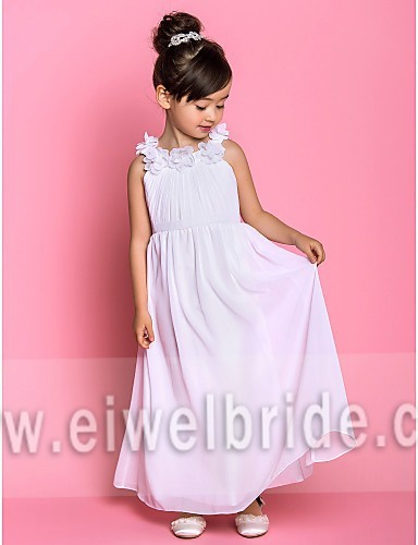S200 Scoop Straps A-Line Sleeveless Ankle-Length Chiffon Baby Girl Party Dresses in Bangalore