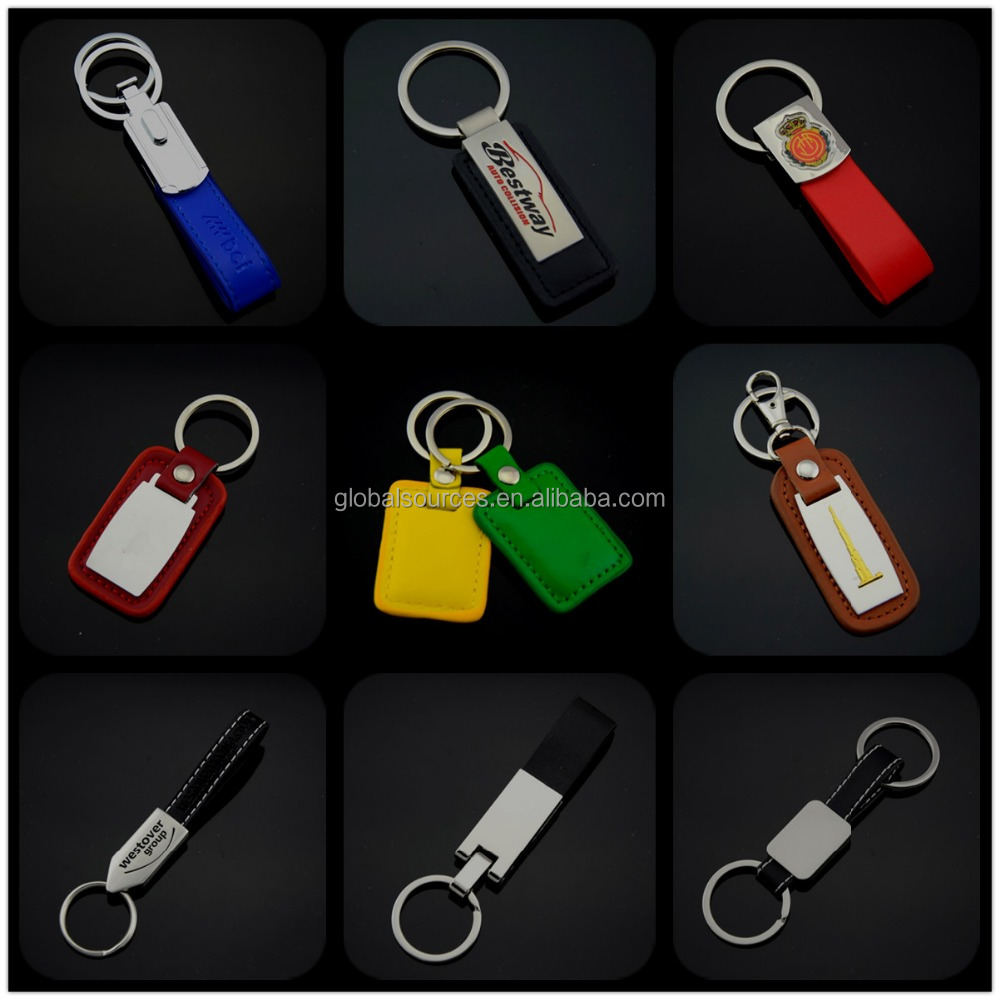hot sales leather keyring with epoxy domed car logo