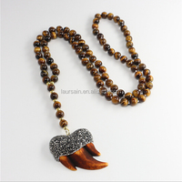 LS-D5263 Wholesale Men Necklace, Paved Clay Shark Teeth Tiger Eye Beaded Knot Necklace