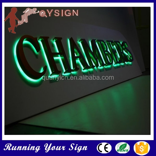Easy to install light up chambers backlit matel signs