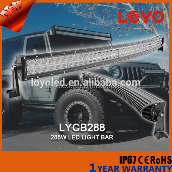 "Favorable cheap price 50"" erro free deocoder waterproof 288w curving led light bar for nova"